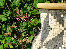 Mosaic vase in garden at Casa Mosaica