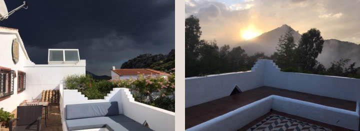 Casa Mosaica terrace by day and evening